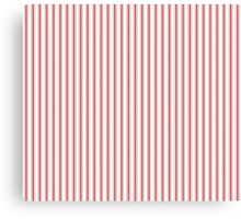 Mattress Ticking Narrow Striped Pattern in Red and White Canvas Print