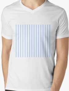 Mattress Ticking Wide Striped Pattern in Pale Blue and White Mens V-Neck T-Shirt