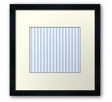 Mattress Ticking Wide Striped Pattern in Pale Blue and White Framed Print