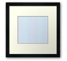 Mattress Ticking Narrow Striped Pattern in Pale Blue and White Framed Print
