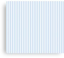 Mattress Ticking Narrow Striped Pattern in Pale Blue and White Canvas Print