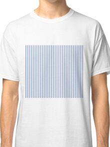 Mattress Ticking Narrow Striped Pattern in Dark Blue and White Classic T-Shirt