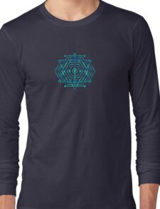 Modern Fashion Abstract Color Pattern in Blue / Green Long Sleeve T-Shirt
