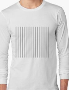 Mattress Ticking Wide Striped Pattern in Charcoal Grey and White Long Sleeve T-Shirt