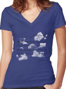 The Musical Notes Women's Fitted V-Neck T-Shirt