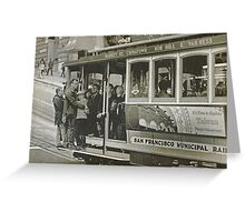 San Francisco Cable Car in B&W Greeting Card