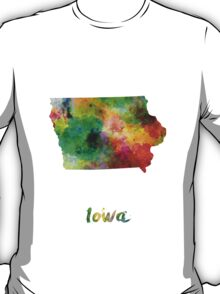 Iowa US state in watercolor T-Shirt