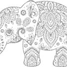 Silver Gray Glitter Floral Paisley Elephant by artonwear