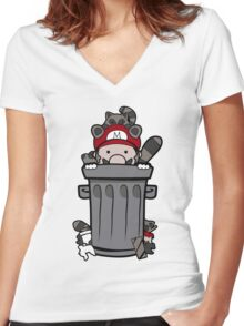 Mario Trash Women's Fitted V-Neck T-Shirt