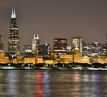 Chicago skyline at night by Justin428