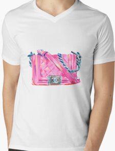 Pink-Bag Mens V-Neck T-Shirt