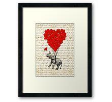 Elephant and love heart Framed Print