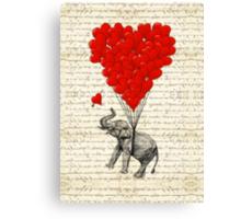 Elephant and love heart Canvas Print