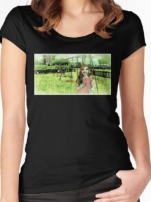 """""""The Friendly Horror"""" Audiobook Illustration Women's Fitted Scoop T-Shirt"""