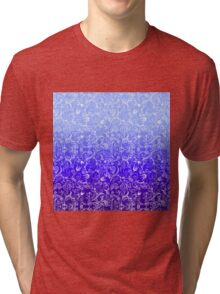 Purple Ombre Floral Pattern Tri-blend T-Shirt