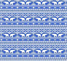 Elephant Tribal Blue by Jacqueline Maldonado