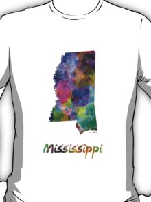 Mississippi US state in watercolor T-Shirt