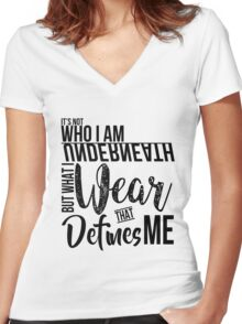FunnyBONE What Defines Me (Black) Women's Fitted V-Neck T-Shirt