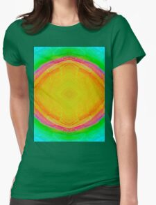 Psychedelic Sunburst - Bright Yellow & Green Womens Fitted T-Shirt