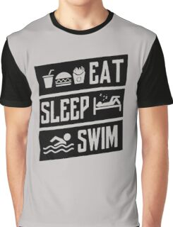 Eat Sleep Swim Funny Graphic T-Shirt