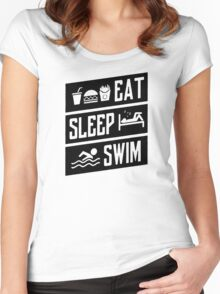 Eat Sleep Swim Funny Women's Fitted Scoop T-Shirt