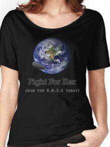 Fight For Her W/O U.N.S.C Logo Women's Relaxed Fit T-Shirt