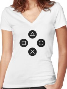 Funny Cool Gamers Controller Joystick Women's Fitted V-Neck T-Shirt