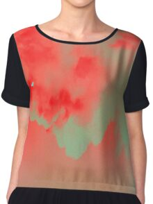 Sky red blue turquoise Chiffon Top