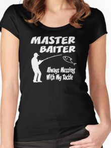 Master Baiter Funny Fishing Women's Fitted Scoop T-Shirt