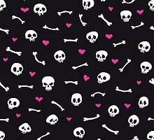 Cartoon Skulls with Hearts on Black Background Seamless Pattern by Voysla