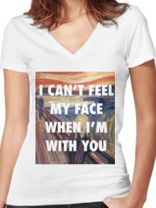 CAN'T FEEL MY FACE - THE SCREAM Women's Fitted V-Neck T-Shirt