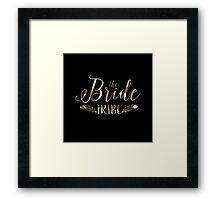Black Circle Gold text-The Bride tribe Framed Print