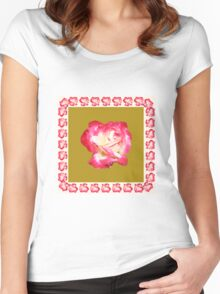 Red and Cream Rose Women's Fitted Scoop T-Shirt