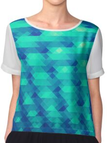 Modern Fashion Abstract Color Pattern in Blue / Green Chiffon Top