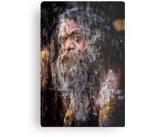 Aboriginal fullblood portrait on paperbark Metal Print