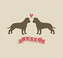 American Staffordshire Terriers in Love by Jenn Inashvili