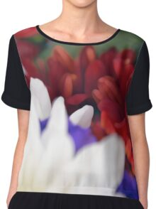 Watercolor style natural background with beautiful colorful flower petals. Chiffon Top