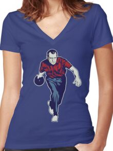 Nixon Bowling Women's Fitted V-Neck T-Shirt