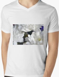 Watercolor style natural background with beautiful colorful flower petals. Mens V-Neck T-Shirt
