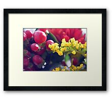 Watercolor style natural background with beautiful colorful flower petals and leaves. Framed Print