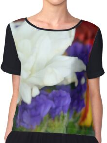 Watercolor style natural background with beautiful colorful flower petals and leaves. Chiffon Top