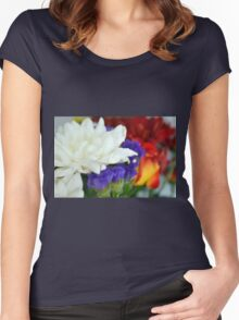 Watercolor style natural background with beautiful colorful flower petals and leaves. Women's Fitted Scoop T-Shirt