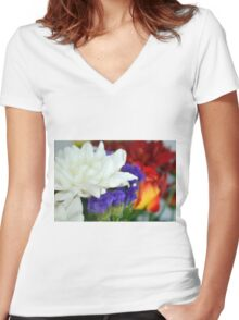 Watercolor style natural background with beautiful colorful flower petals and leaves. Women's Fitted V-Neck T-Shirt