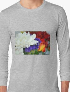 Watercolor style natural background with beautiful colorful flower petals and leaves. Long Sleeve T-Shirt