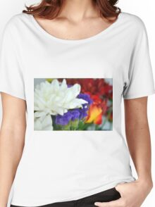 Watercolor style natural background with beautiful colorful flower petals and leaves. Women's Relaxed Fit T-Shirt