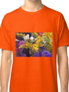 Watercolor style natural background with beautiful colorful flower petals. Classic T-Shirt