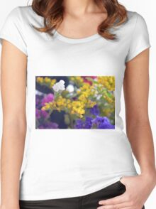 Watercolor style natural background with beautiful colorful flower petals. Women's Fitted Scoop T-Shirt
