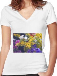 Watercolor style natural background with beautiful colorful flower petals. Women's Fitted V-Neck T-Shirt