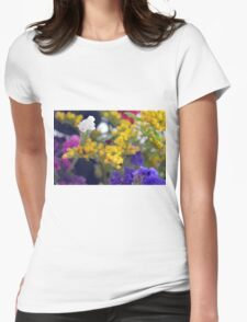 Watercolor style natural background with beautiful colorful flower petals. Womens Fitted T-Shirt