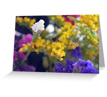 Watercolor style natural background with beautiful colorful flower petals. Greeting Card